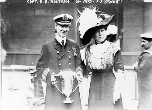 Molly Brown Presents Loving Cup to Captain Rostron