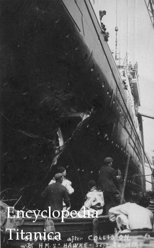 Damage to the Olympic following collision with HMS Hawke
