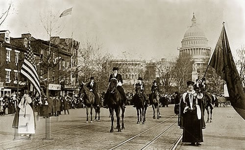 Helen Churchill Candee leads Womens Suffrage Rally 1913