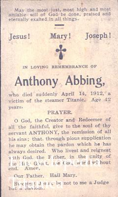 Memorial Card for Anthony Abbing