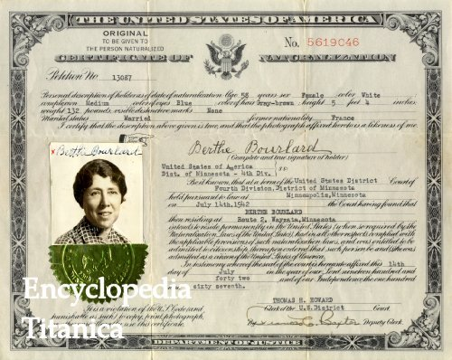 Berthe Leroy\'s certificate of naturalization in the United States