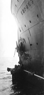 Bow damage to Empress of Britain after collision