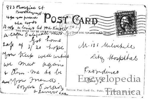 Titanic postcard from one survivor to another