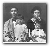 Percival C. Corey, widower of Titanic victim Mary Elizabeth Miller Corey, with his second wife and two daughters.
