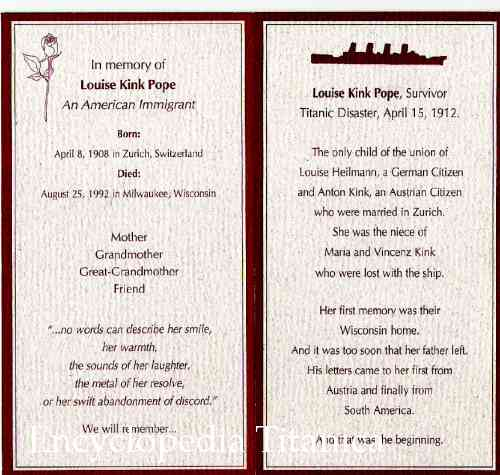 card from the funeral service of Louise Kink Pope