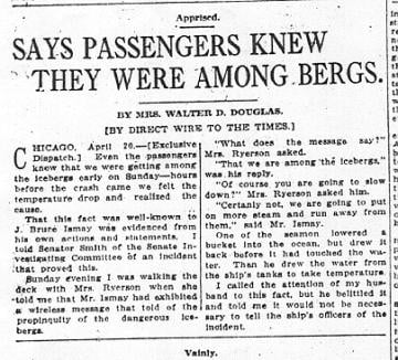 Says passengers Knew they were among bergs