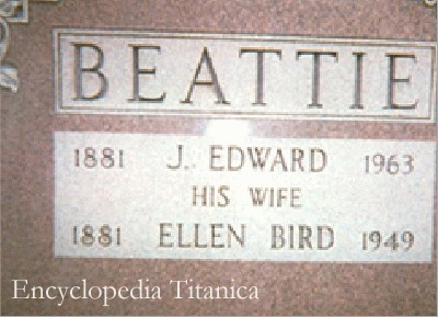 Gravestone for Ellen Bird Beattie