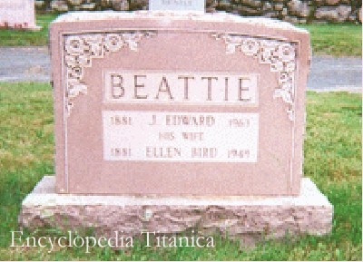 Gravestone for Ellen Bird Beattie and husband