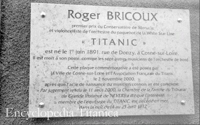 Memorial to Roger Bricoux, Titanic cello player