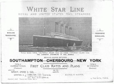 Brochure saved from the Titanic by mme Laroche