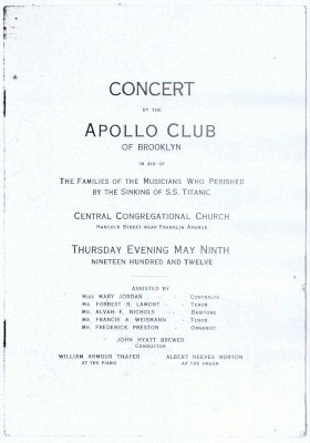 Concert by the Apollo Club, Brooklyn in aid of musicians' families