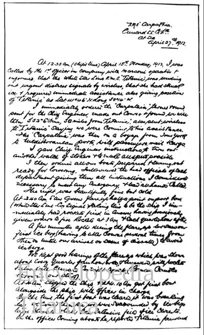 Captain Rostron's handwritten account of the disaster.