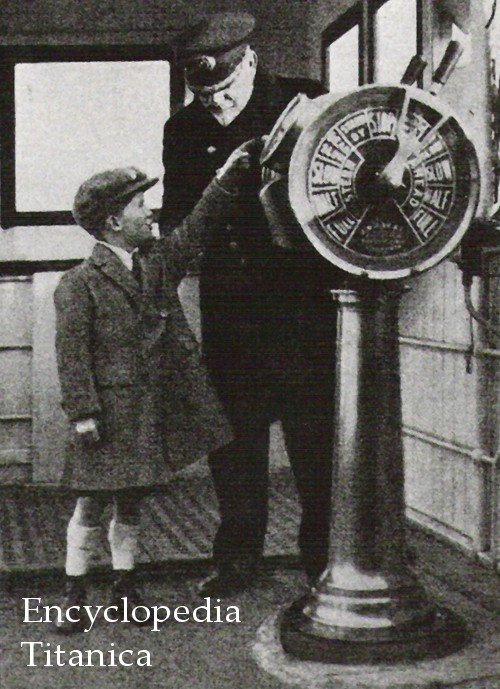 Captain Smith and boy on bridge