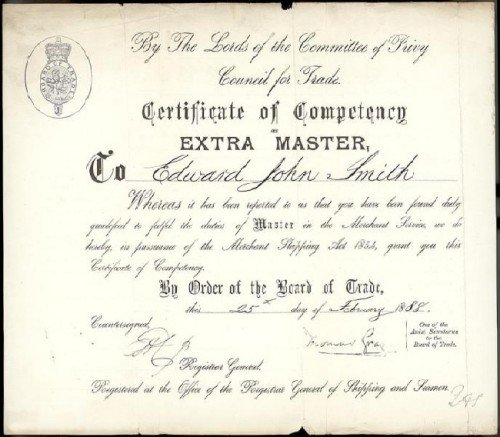 Captain Smith's Extra Master Certificate