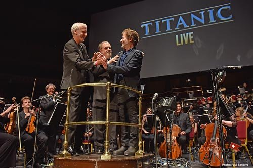 James Horner with James Cameron and Jon Landau