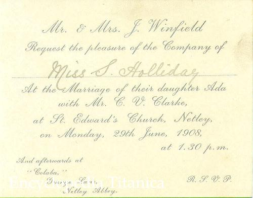 to the wedding of Ada Maria Winfield and Charles Valentine Clarke