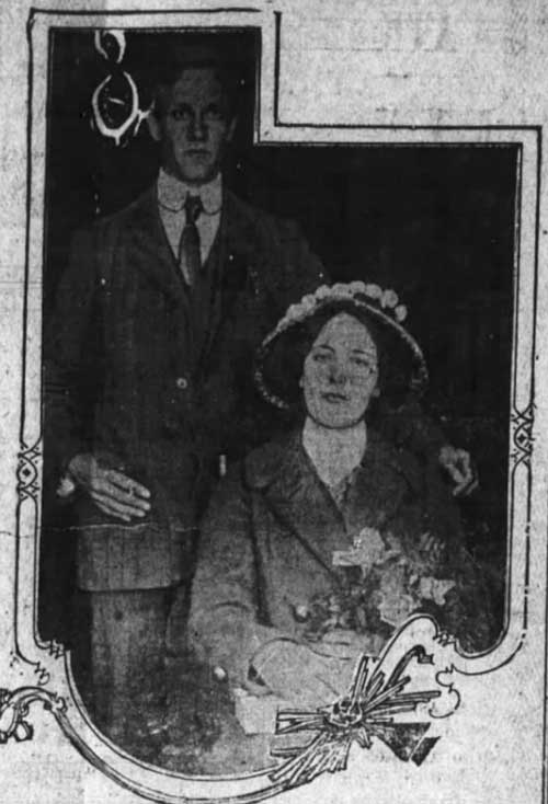 Marion Wright with Arthur Woolcott on the day of their marriage